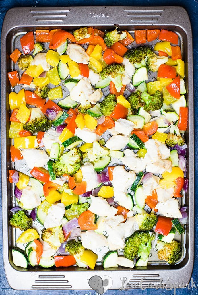 Roasted Vegetables and Chicken is a healthy, flavorful recipe, that's super easy to whip up. The veggies have a perfect texture, the chicken is juicy and perfectly tender. It's an ideal recipe for meal prep.