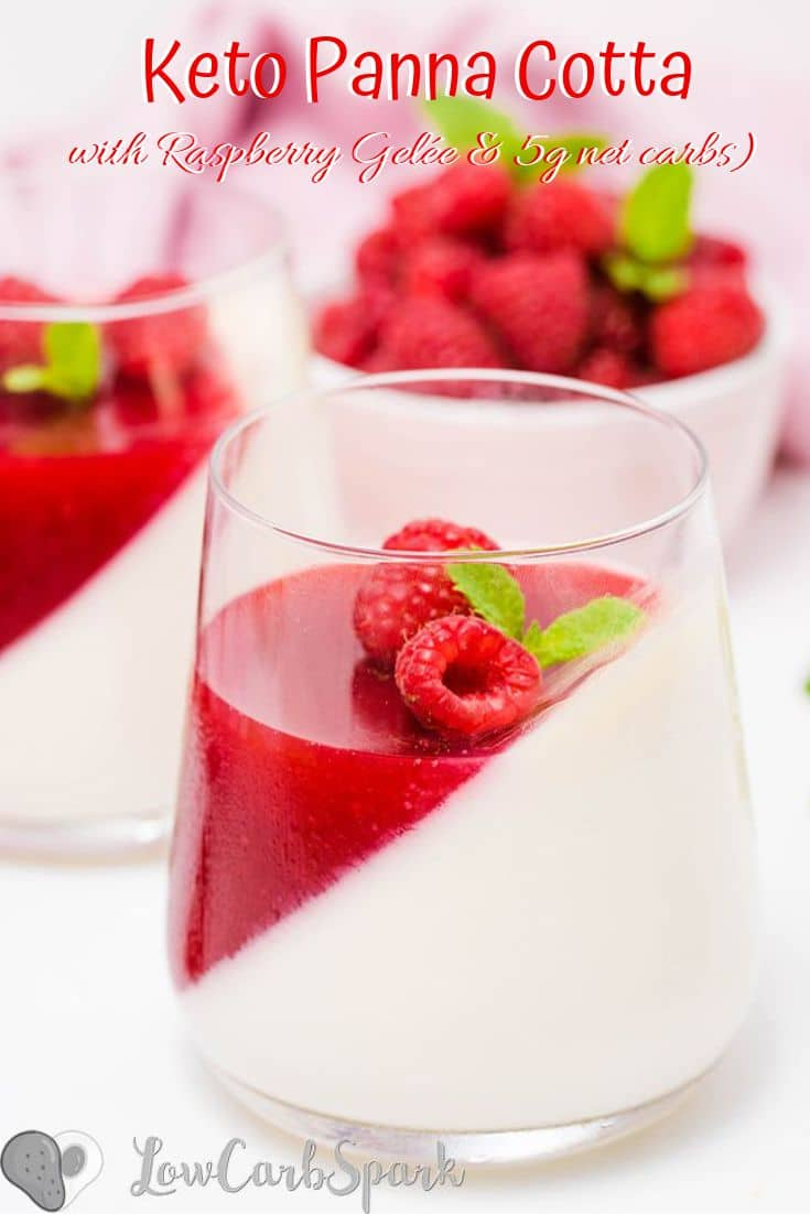 Keto Panna Cotta with Raspberries Gelée Keto Panna Cotta is a delicious chilled Italian dessert that's very creamy and quick to make. I make it every time I need to impress my guests and serve it with fresh berries or with my amazing sugar-free gelee. #ketodessert #pannacotta #raspberries #sugarfree recipe via @lowcarbspark