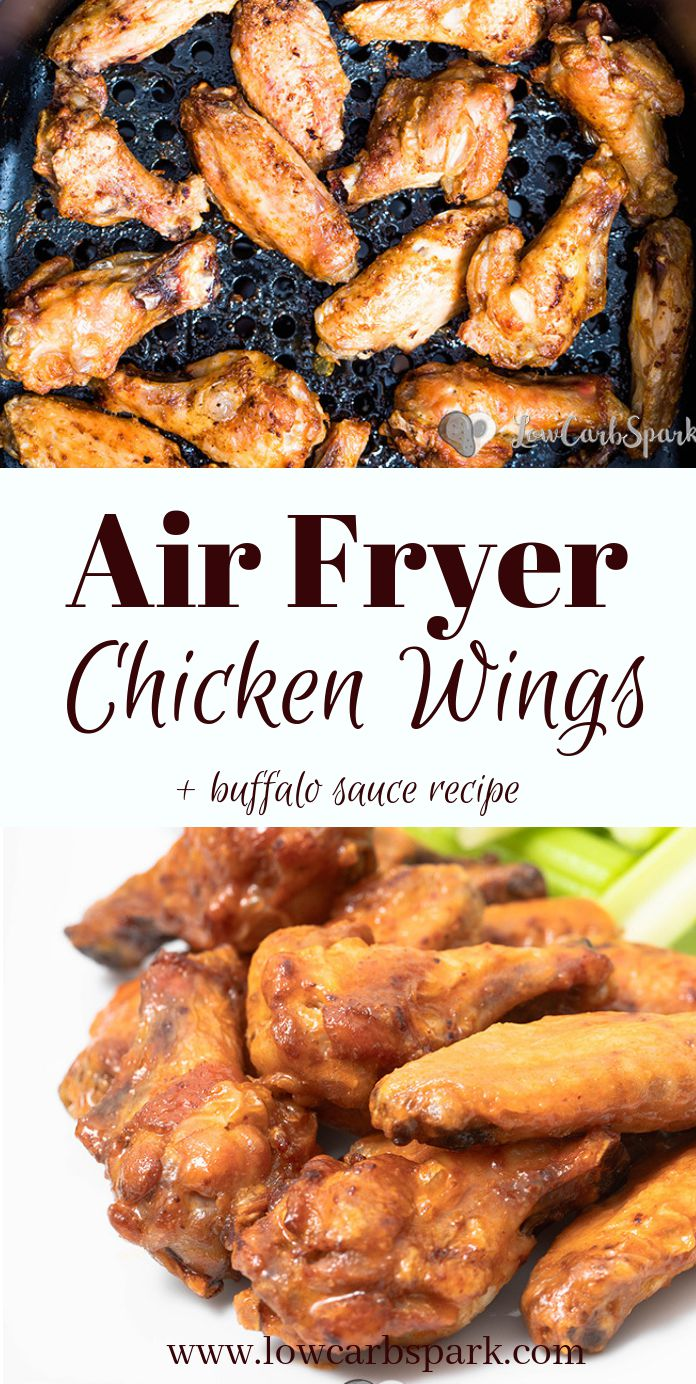 These Air Fryer Chicken Wings are super crispy, and the meat is juicy. Cooking Chicken Wings in an Air Fryer instead of deep frying makes them a healthy choice. This extremely popular recipe is ready  30 minutes and super easy to make! Toss them in a delicious low carb Buffalo sauce, and your meal is ready. #chickenwings #airfryer #chickenrecipes