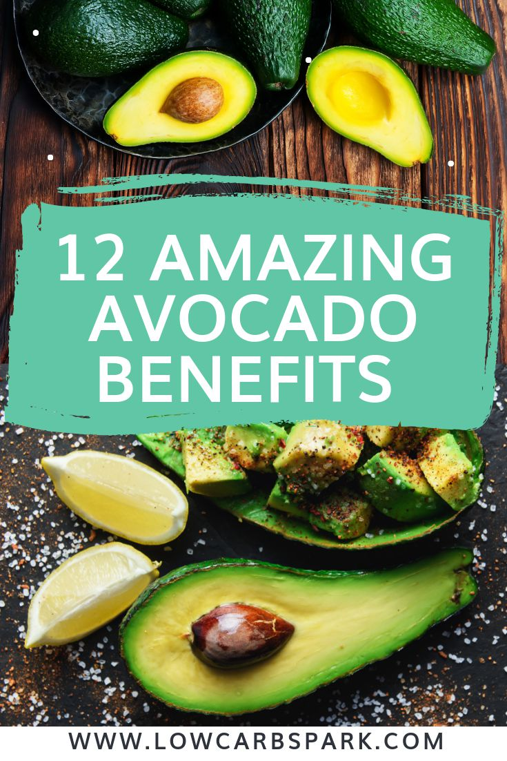 Avocado has tons of benefits and it\'s loaded with many key nutrients. Read the best 12 health benefits of eating avocado. Why should you eat avocados every day? Avocado has tons of benefits that include improving heart and digestive health, cancer prevention, healthy skin and hair, weight loss, and more. #avocado #avocadobenefits #plantbased