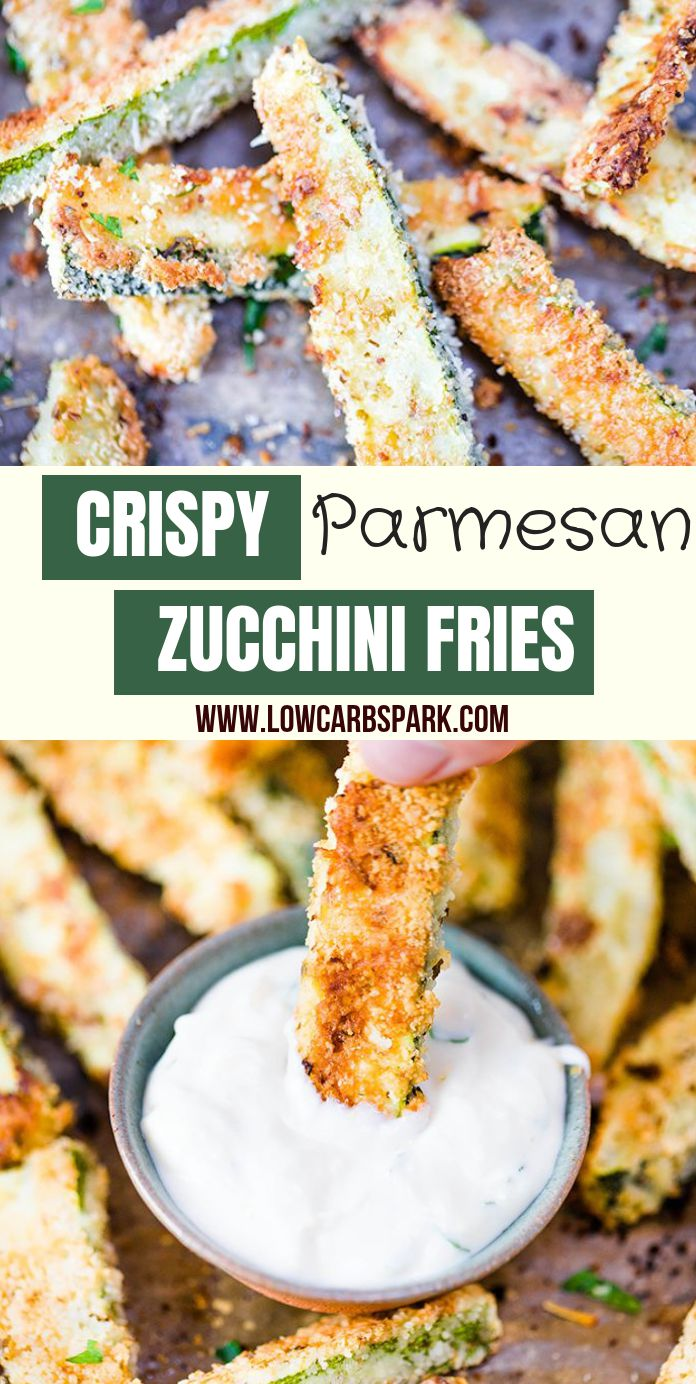 These crispy baked zucchini fries are delicious, satisfying, cheesy, and easy to make. Enjoy these fries as a keto healthy snack, appetizer or side dish for just 1.3g carbs a serving.