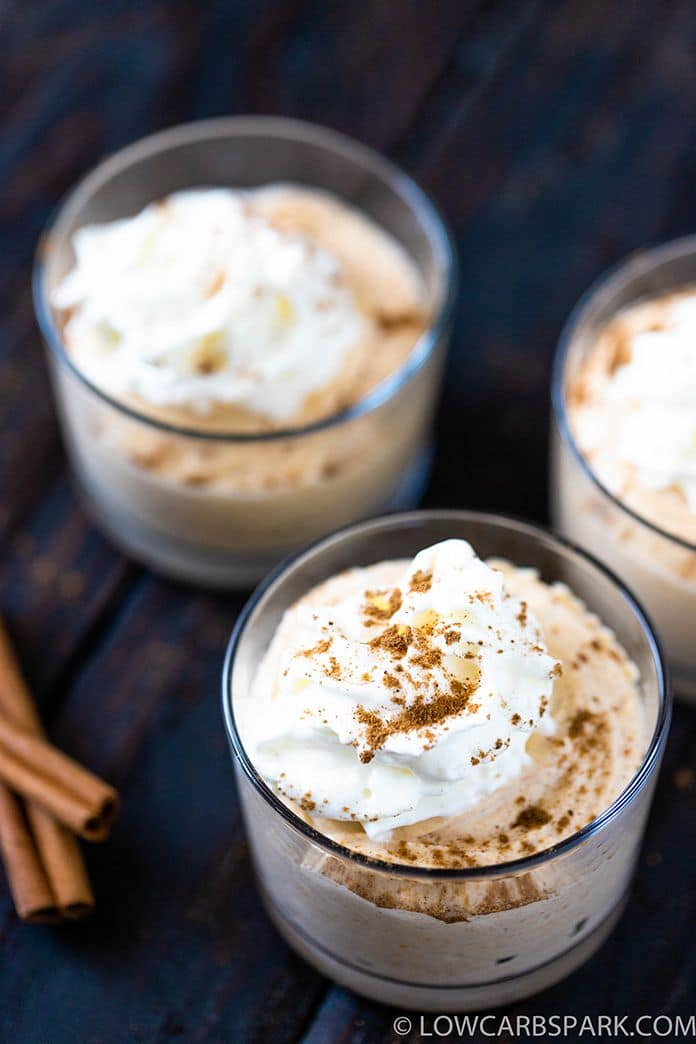 easy pumpkin mousse recipe in individual servings jars topped with sugar free whipped cream and pumpkin pie spice no sugar added dessert perfect for fall keto dessert and plaeo dessert