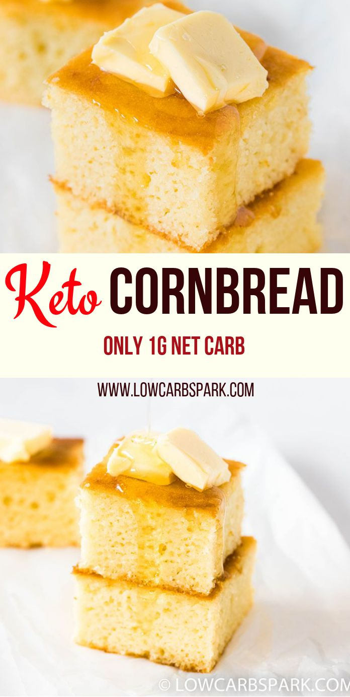 This Keto Cornbread is super fluffy, tender, and moist. It has the right amount of sweetness, making it fantastic for dipping into chili, soups or stews or top with butter and have it as a quick snack. At only 1g net carbs per serving, this almond flour cornbread is super soft in the middle with buttery and crunchy edges. #ketocornbread