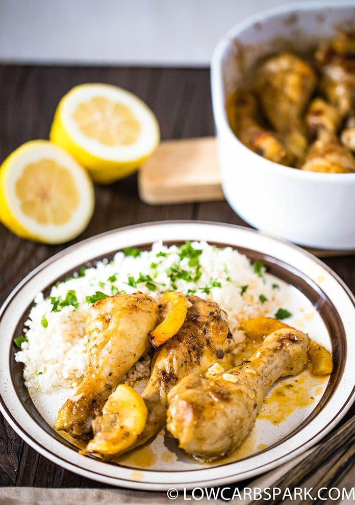 lemon chicken legs with cauliflower rice