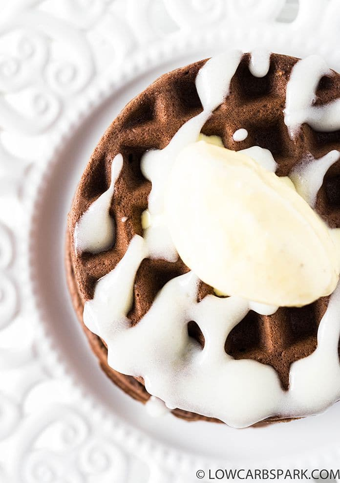 brownie chaffles with glaze and keto vanilla icea cream
