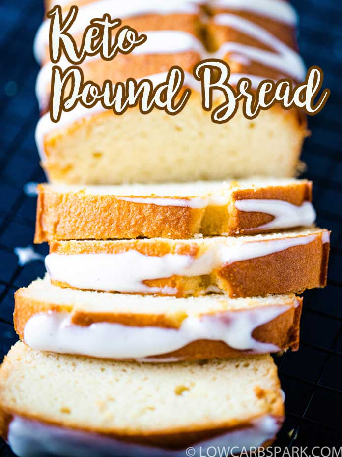 This Keto Vanilla Pound Cake is a low carb sweet bread, insanely easy to make with simple ingredients. It\'s ready in just 60 minutes, perfect for a delicious snack or quick breakfast. You have to try this fantastic pound bread that\'s also gluten-free, grain-free and sugar-free.