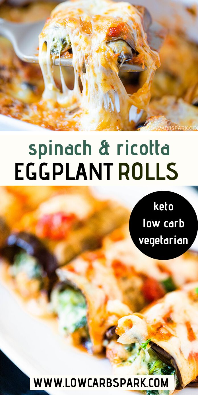 Eggplant Rolls with Creamy Spinach Cheese Filling