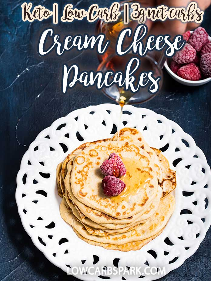 These cream cheese pancakes are gluten-free and perfect for a low-carb breakfast. Just mix a few ingredients to make this delicious egg-fast friendly recipe. It\'s so easy to whip up super healthy light and fluffy breakfast pancakes. Recipe via @lowcarbspark