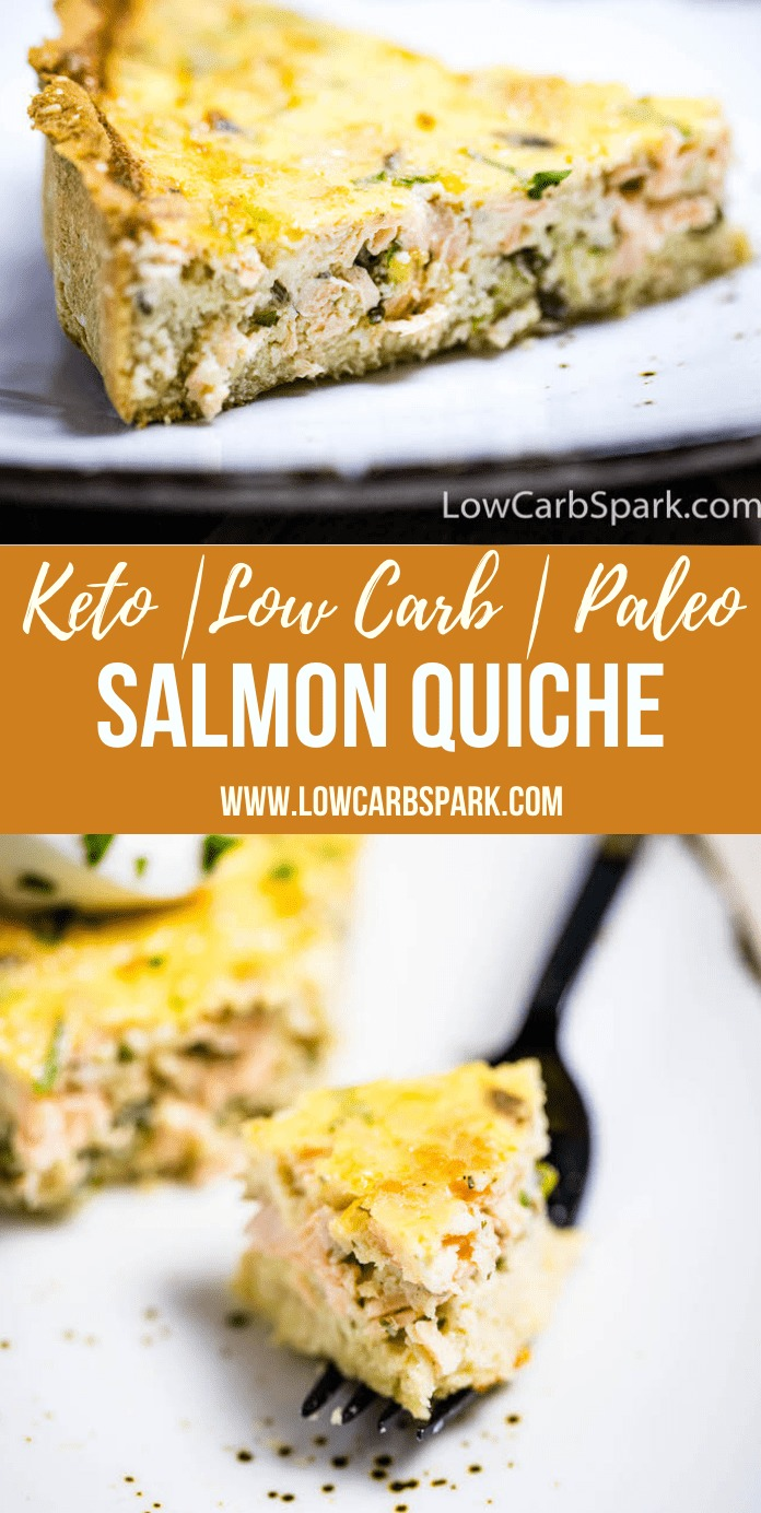 This Keto Salmon Quiche is made with leftover baked salmon, eggs, cheese, and a super flaky low carb crust. The filling is a breeze to make, so this quiche one of those extremely easy and tasty keto recipes.