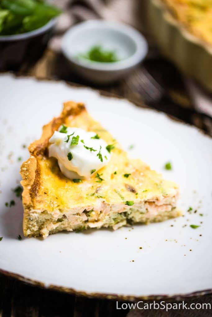 Easy Keto Salmon Quiche - Savory Low Carb Pie