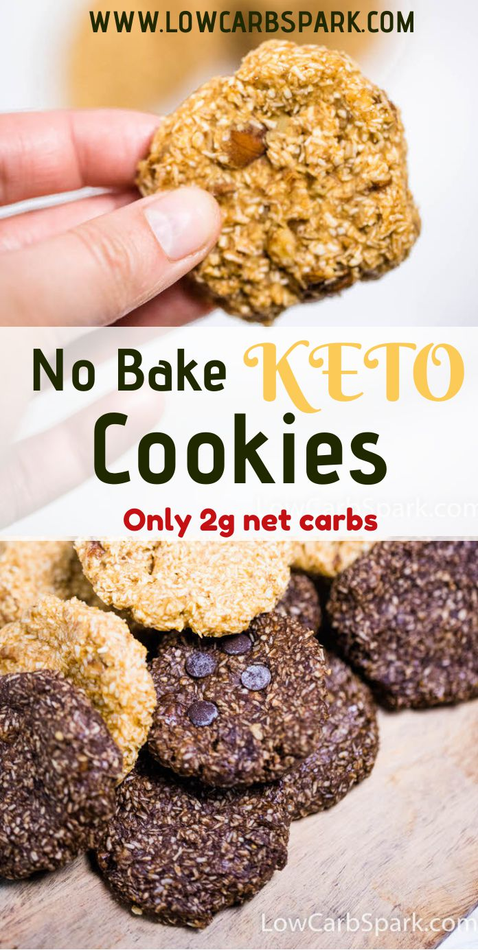 5 Minute No Bake Keto Cookies - 2 Ways & Just 2g Carbs These Keto No Bake Cookies are super easy to make, perfect for a low-carb treat, and need just 6 wholesome ingredients. Made with plenty of peanut butter, these gluten-free cookies require no baking or special skills.