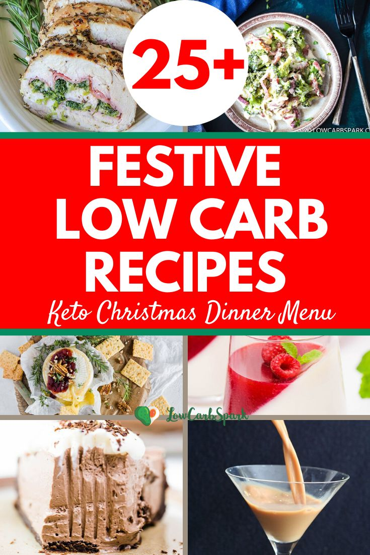 Here\'s a list with more than 25 recipe ideas for a mouthwatering holiday menu. Choose from plenty of delicious keto and low carb recipes. #ketochristmas #ketorecipes