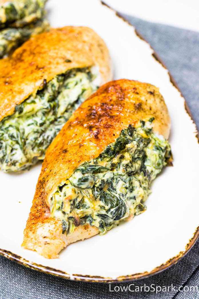 delicious and creamy chicken breast with spinach and garlic cream cheese