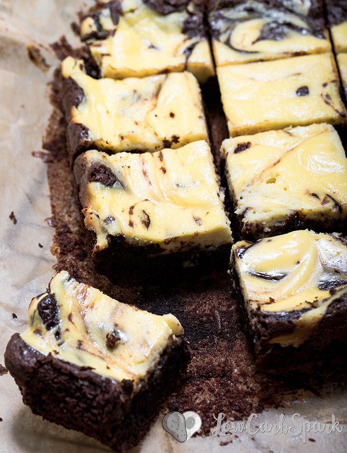 Super easy to make keto cheesecake brownies with a thick layer of cream cheese and moist brownies.