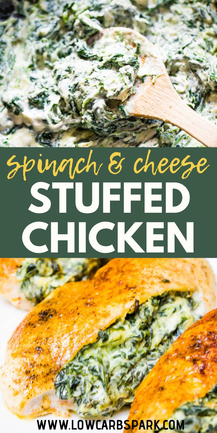 This stuffed chicken breast is packed with delicious spinach and creamy garlic filling. The perfect comfort food for the whole family. It\'s super easy to make this stuffed chicken breast with spinach, mozzarella, cream cheese, parmesan, and lots of flavorful spices.