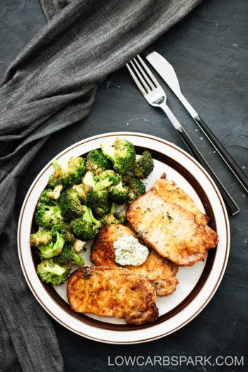Air Fryer Pork Chops and Crispy Garlic Broccoli