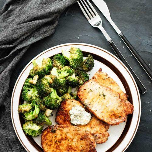 Air Fryer Pork Chops and Crispy Garlic Broccoli
