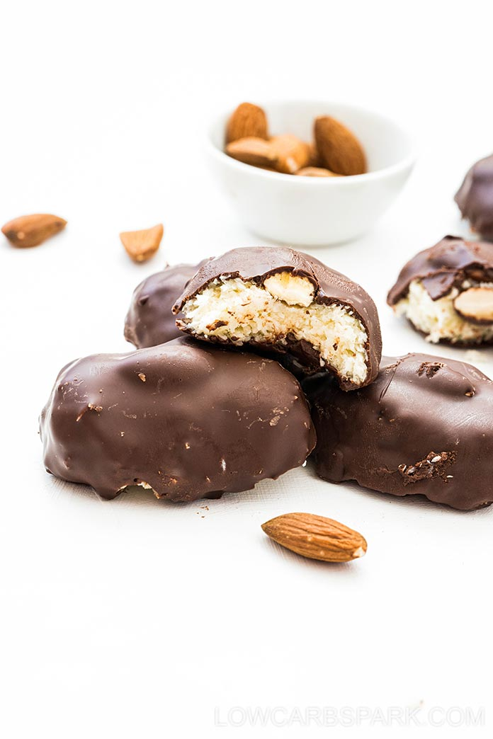 These Homemade Chocolate Coconut Almond Joy Candy Bars are a quick and easy no-bake dessert with only 7ingredients and 3g net carbs! This is the best keto treat I've ever tried, and the recipe is incredibly easy. A tasty, low carb, homemade version of Almond Joy candy bars!