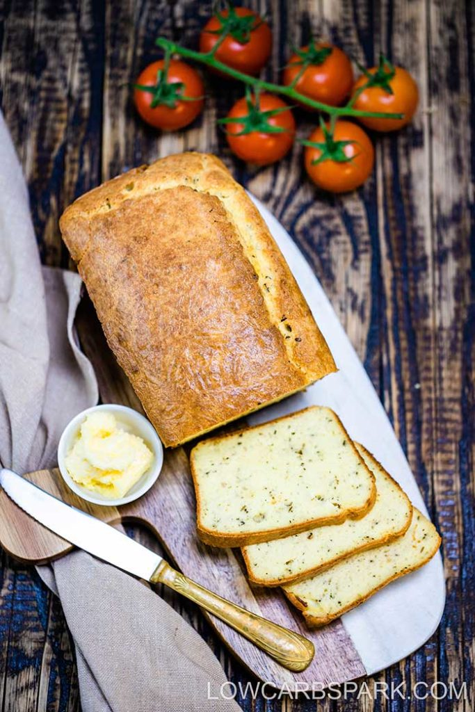 This bread is unique because it's loaded with Italian seasonings, a combo of low carb flours, cream cheese, and melted butter and has zero eggy taste.