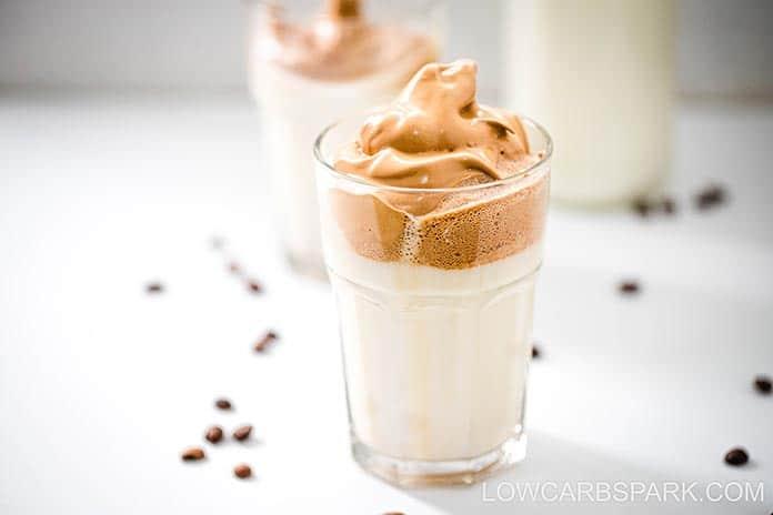 how to make keto sugar free iced dalgona coffee