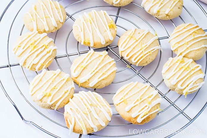 These sugar-free lemon cookies are extremely soft on the inside, crispy on the outside and packed with lemon flavor. Drizzle them with my two ingredients, keto lemon glaze, and everyone will love them.