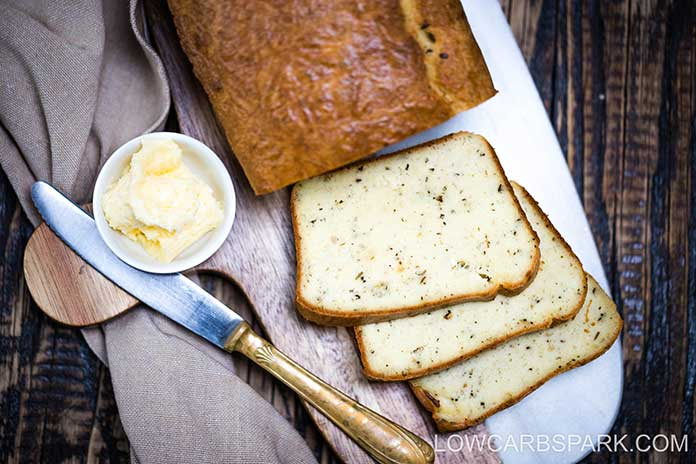 This recipe makes 14 slice of keto bread and it's easy to whip up. This herb bread is perfect for eating on a keto diet because it's super low carb and made only with keto-friendly ingredients.