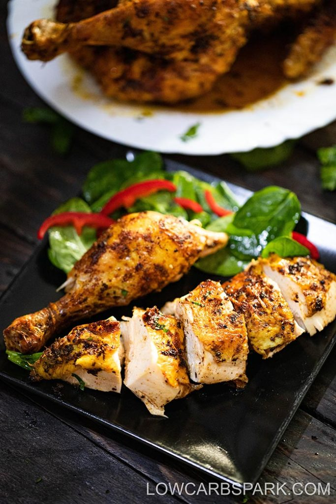 I love this easy Air Fryer Whole Chicken recipe with only 3 ingredients and minimal prep. Ready in under 60 minutes, it is perfect for a busy weeknight dinner, and the leftovers are perfect for meal prep.