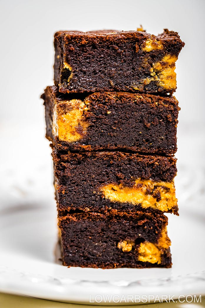 Fudgy homemade keto peanut butter brownies recipe that are easy to  make simple, rich, moist, soft! Only 2g net carbs per square. Recipe on lowcarbspark.com