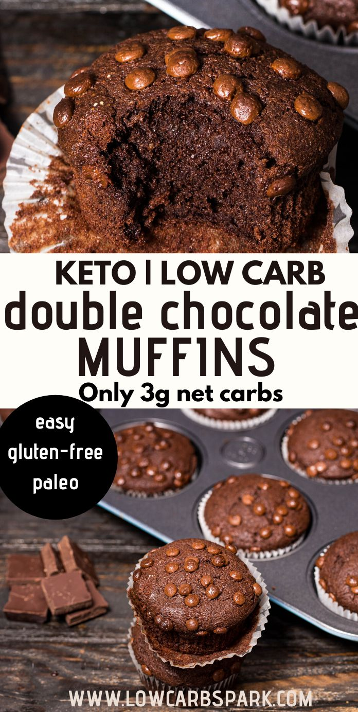 The BEST Keto Double Chocolate Muffins - Super Moist and Fudgy