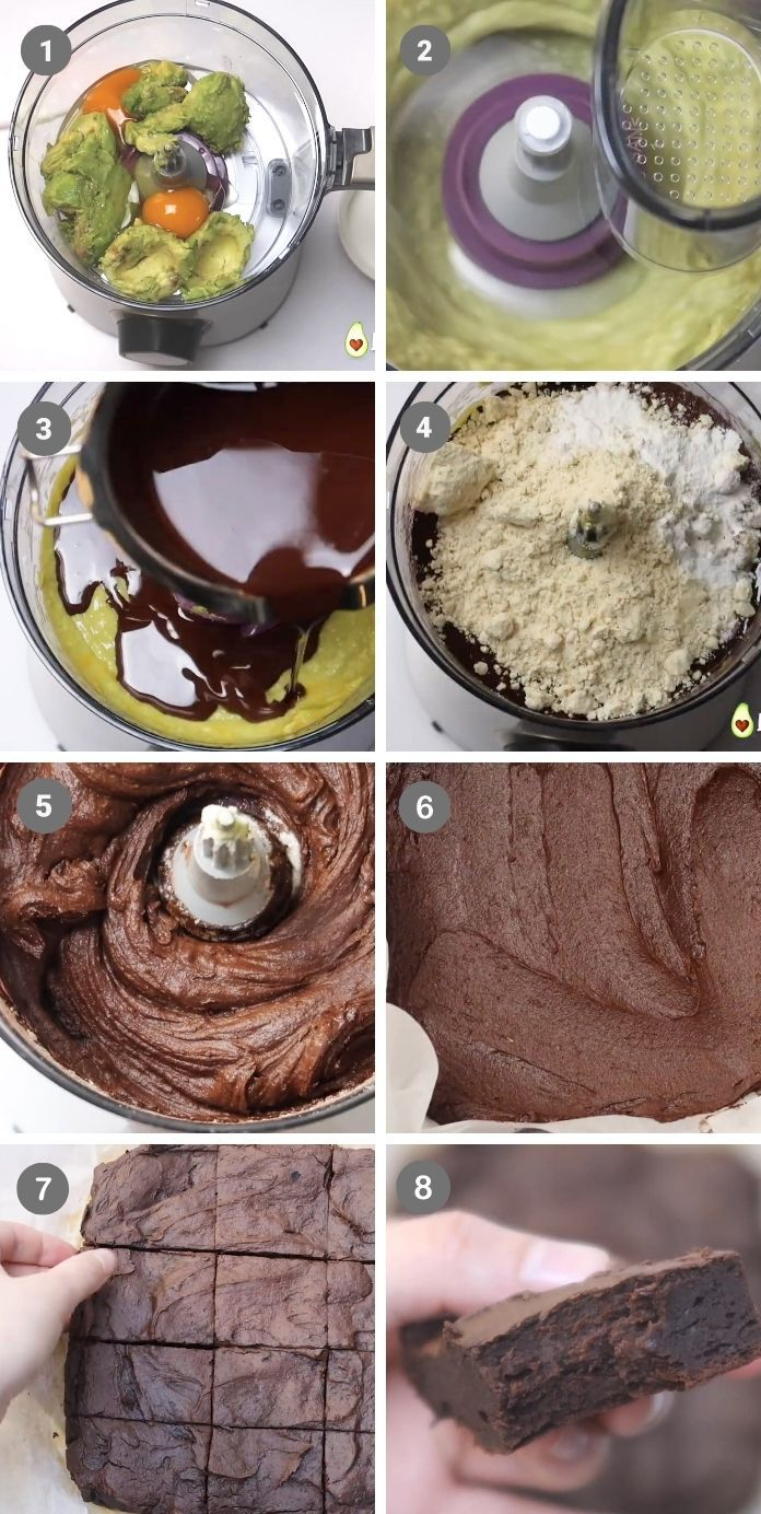 a picture showing step by step how to make avocado brownies