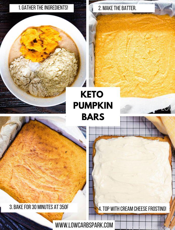 Make keto pumpkin bars recipe steps
