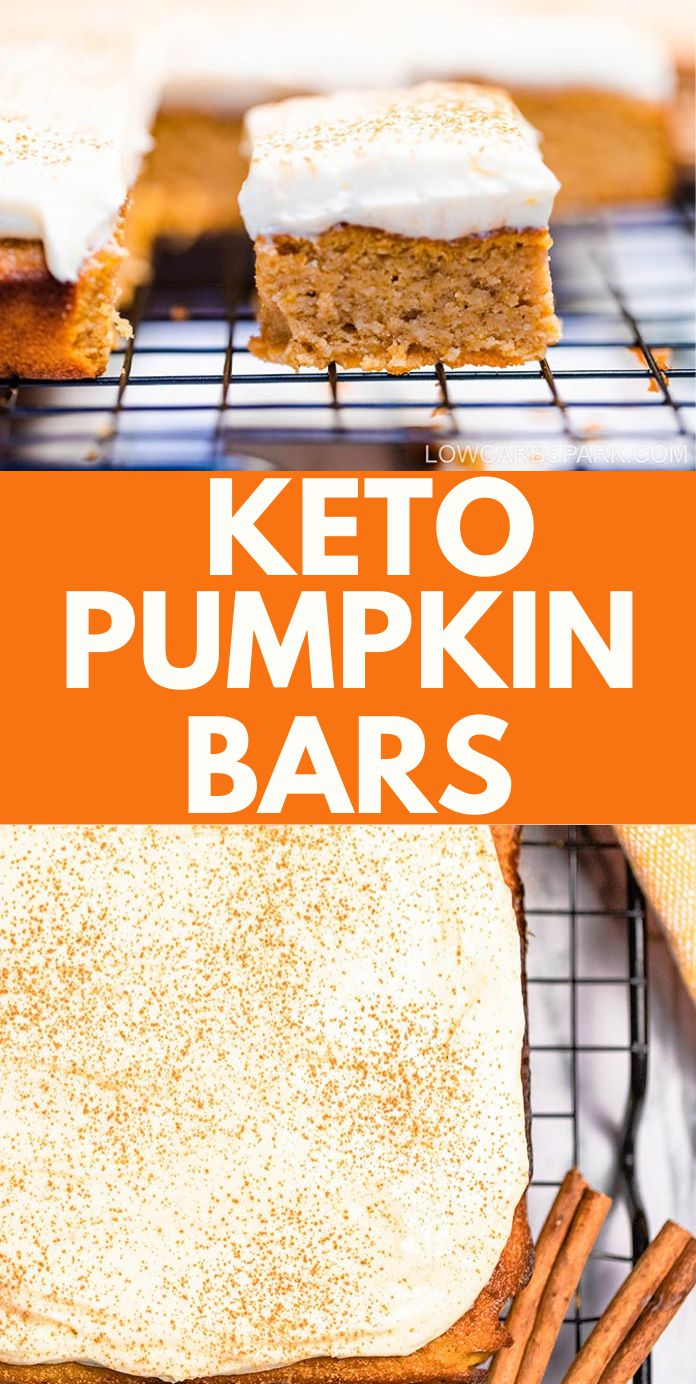 The BEST Keto Pumpkin Bars with Cream Cheese Frosting