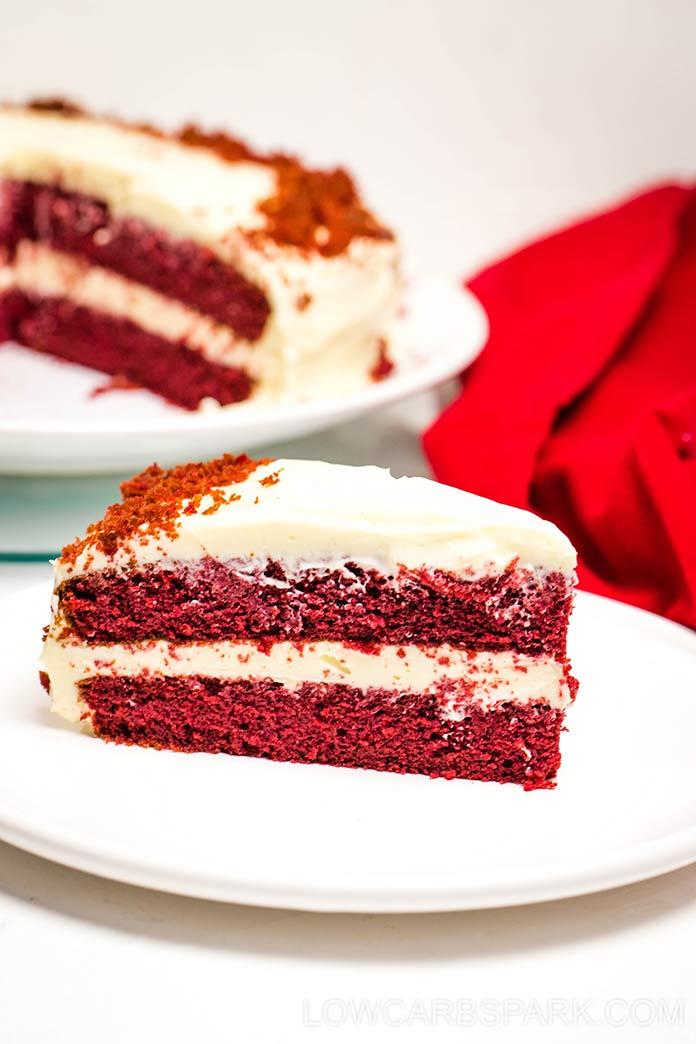 keto red velvet cake with cream cheese frosting slice