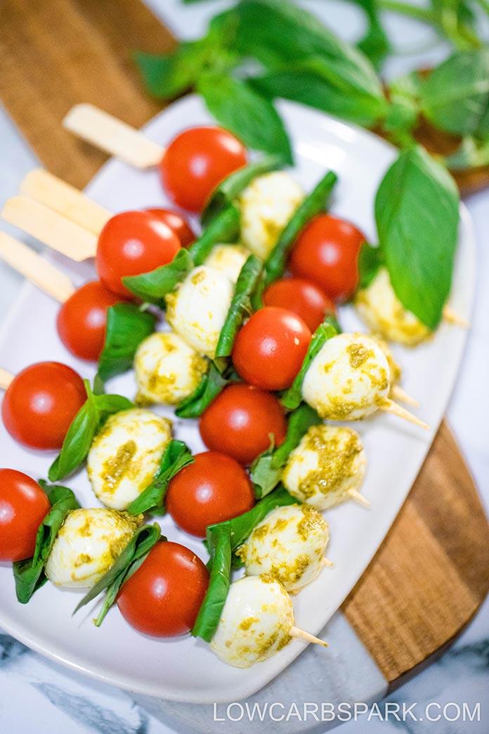 mozzarella pesto and tomato caprese skewers
