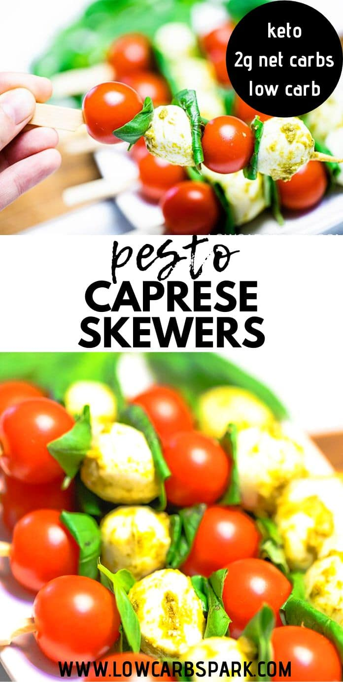 Tomato & Mozzarella Pesto Caprese Skewers  - 4 ingredients