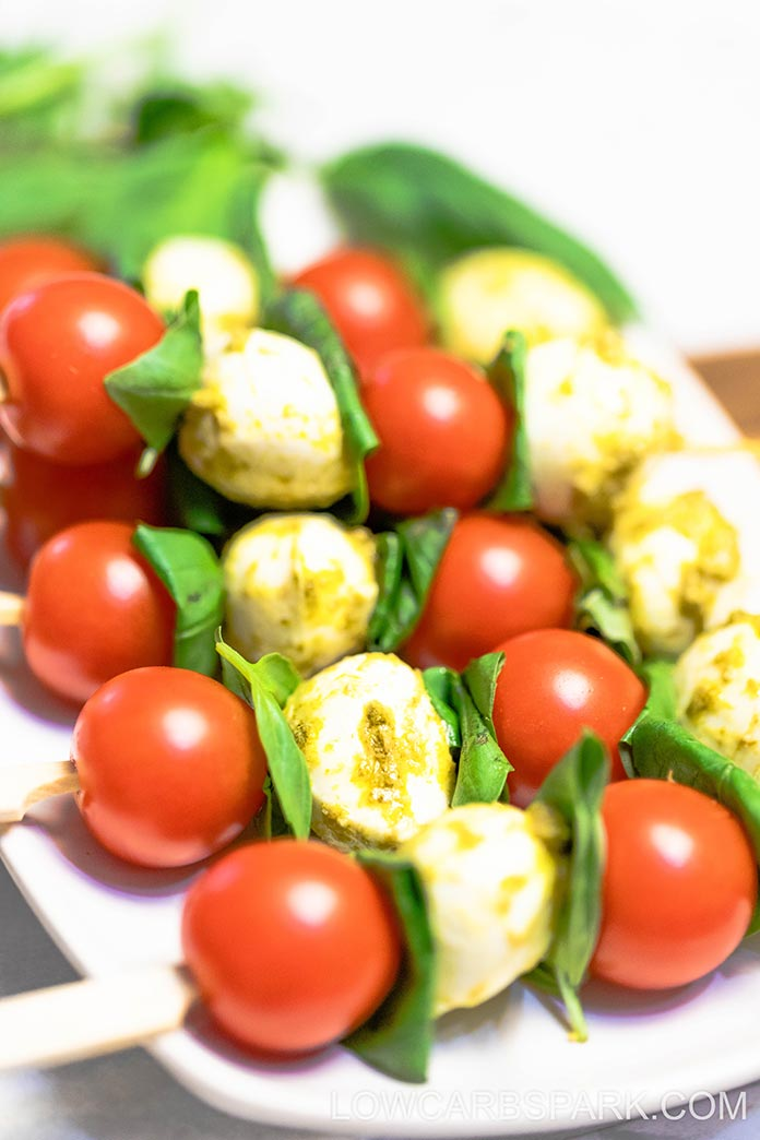 quick and easy basil pesto skewers