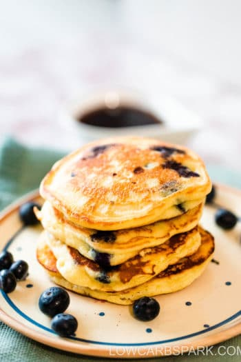 Fluffiest Keto Blueberry Pancakes with Almond flour