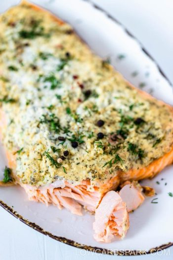 Cream Cheese Dill Baked Salmon