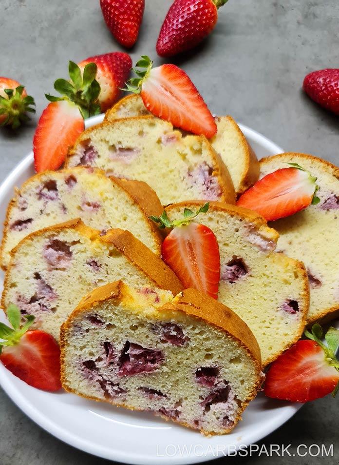 the best low carb keto strawberry pound cake