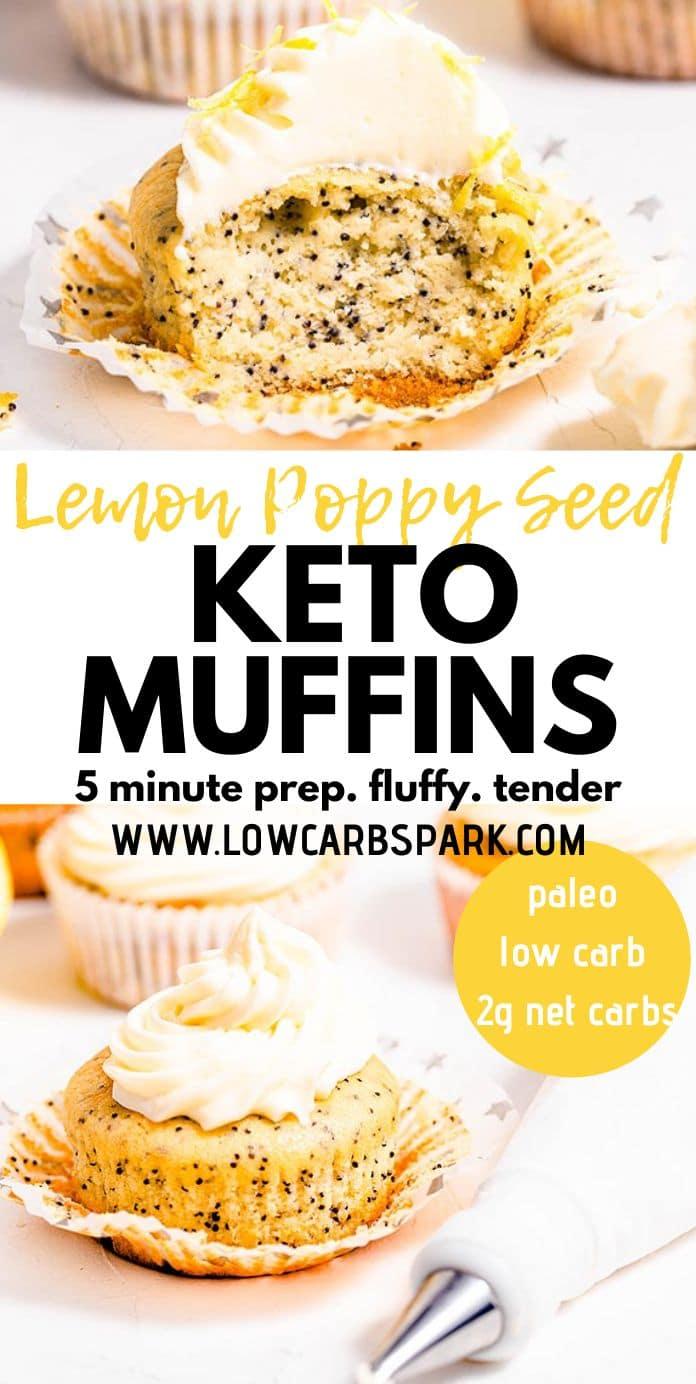 Keto Lemon Poppy Seed Muffins - 2g net carbs
