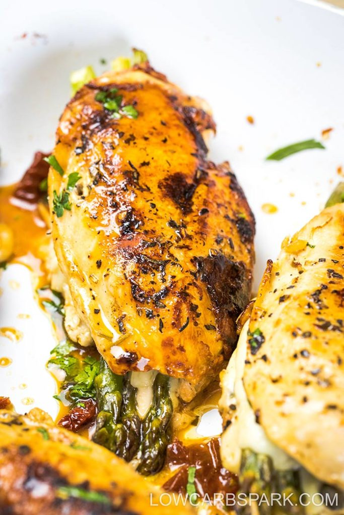 juicy asparagus stuffed chicken with mozzarella
