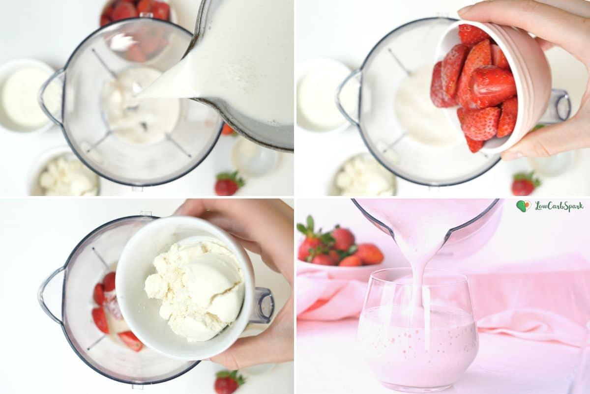 step by step picture instructions to make the best keto smoothie