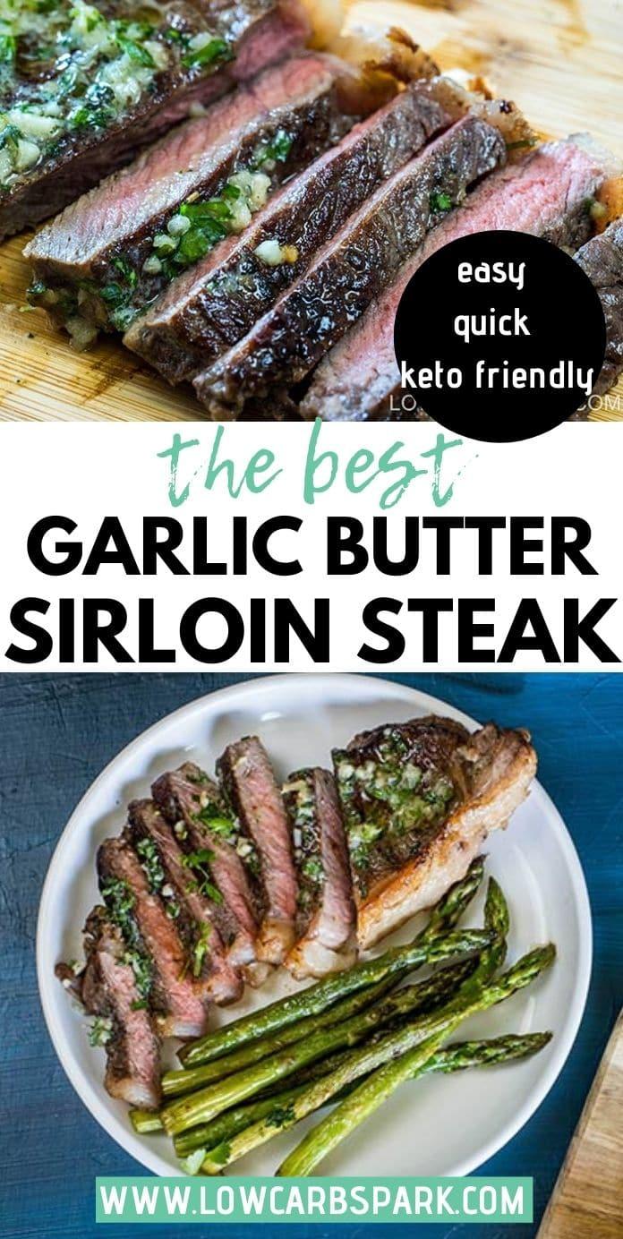 Best Garlic Butter Sirloin Steak with Pan-Fried Asparagus